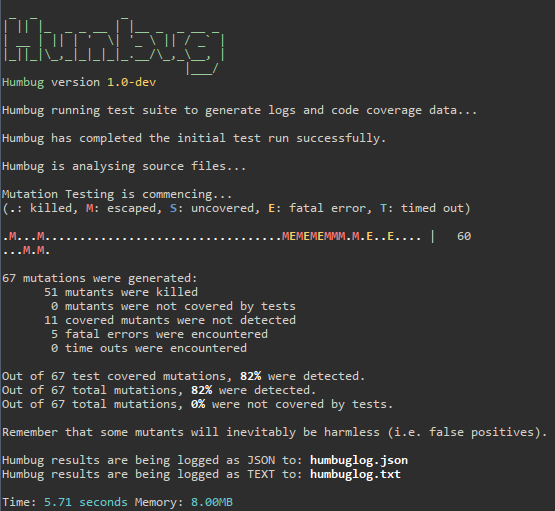 Screenshot of Humbug output